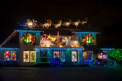 Christmas luminosity. Bright Christmas lights and decorations in Christmas village in Salem, Oregon royalty free stock photography