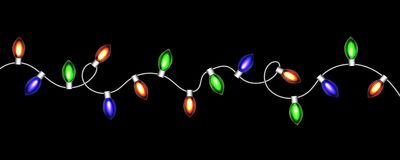 Christmas luminous red garland. Vector Royalty Free Stock Images