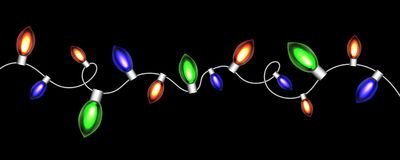 Christmas luminous red garland. Vector Stock Photos