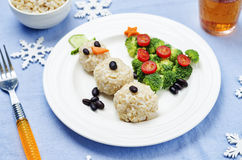 Christmas lunch with healthy kid's food Royalty Free Stock Image