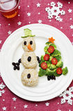 Christmas lunch with healthy kid's food Royalty Free Stock Photo