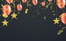 Christmas luxury black background with golden stars, snowflakes. Balloons, vector illustration Stock Images