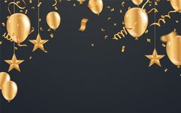 Christmas luxury black background with golden stars, snowflakes. Balloons, vector illustration Royalty Free Stock Photography