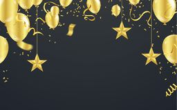 Christmas luxury black background with golden stars, snowflakes. Balloons, vector illustration Royalty Free Stock Images