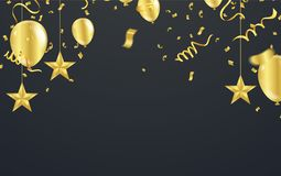 Christmas luxury black background with golden stars, snowflakes. Balloons, vector illustration Stock Photos