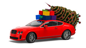 Christmas luxury car. 3D render image representing a Christmas luxury car Stock Photo