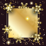 Christmas luxury frame. Christmas and 2017 Happy New Year greeting card background with Glitter, Gold snowflakes, sparkles, glass texture and light effect royalty free illustration