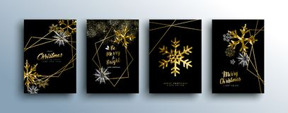 Christmas luxury gold greeting card collection. Merry christmas gold template set with winter season and xmas elements in low poly style. Ideal for greeting card vector illustration