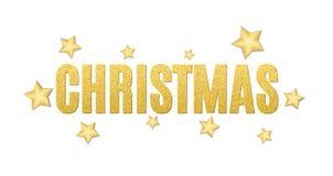 Christmas luxury text of golden glitters. Festive background for the flyer. Christmas golden stars. Golden glitter. Golden sand. V. Ector illustration Stock Photography