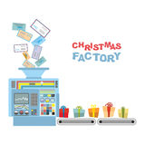 Christmas machine. Processing letters from children gifts. Royalty Free Stock Images