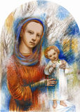 Christmas. Madonna and Child with winter landscape background Royalty Free Stock Images