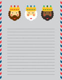 Christmas Magi letter head. On grey US sized lined page vector illustration