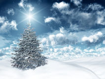 Christmas magic. A beautiful christmas tree in a snowy landscape Royalty Free Stock Images