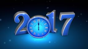 Christmas magic. Fabulous blue clock and numbers, midnight. New Year 2017. 3D animation stock video