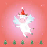 Christmas magic fairy cow Royalty Free Stock Photos