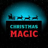 Christmas magic night Santa time. Winter Christmas magic night Santa time. New Year greeting text background. Illustration with falling snow on dark and space Stock Photography