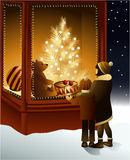Christmas magic shop window. With toys Stock Photos