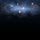 Christmas magic star twinkling shine in sky. Magic star shine sky. Vector magical glitter sky space. Glamour Christmas Eve, New Year 2017 glittering glowing Royalty Free Stock Photos