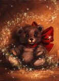 Christmas Magic Tedy Bear Present. Christmas Magic Teddy Bear Gift/Present with Red bow or Ribbon at night with magic sparkles and stars swirling around it Royalty Free Stock Images
