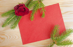 Christmas mail red envelope with rose Stock Photos