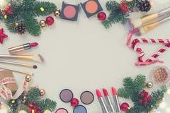 Christmas make up cosmetics Royalty Free Stock Image