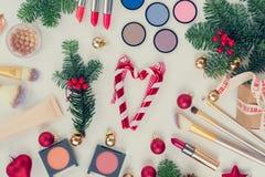 Christmas make up cosmetics Royalty Free Stock Photos