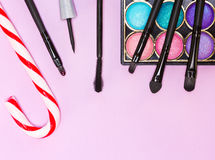 Christmas makeup cosmetics Royalty Free Stock Images