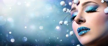Christmas Makeup - Rhinestones On Lips Stock Photo