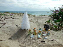 Christmas in Malibu. Even as an adult I love playing in the sand, so created my little own Christmas decorations while visiting the beach at Malibu, California Stock Photos