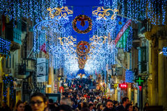 Christmas in Malta - Valletta. Holiday decoration on the city st. Reets Stock Photography