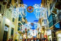 Christmas in Malta - Valletta. Holiday decoration on the city st. Christmas in Valletta - Malta. Holiday decoration on the city streets Stock Photography