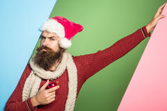 Christmas man with decorative ball stock image