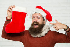 Christmas man with decorative stocking royalty free stock images
