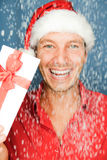 Christmas man present Stock Images