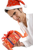 Christmas man with present. Royalty Free Stock Image