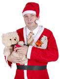 Christmas man in Santa Claus clothes Stock Photo