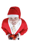 Christmas man in Santa Claus clothes Royalty Free Stock Images