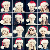 Christmas Man, Woman and Children in Santa Hat. Portrait of Chri Royalty Free Stock Image