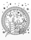 Christmas coloring page stock illustration