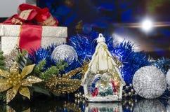 Christmas manger in colorful scene Stock Image