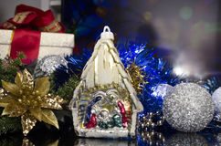 Christmas manger in colorful scene Stock Photo