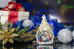 Christmas manger in colorful scene Royalty Free Stock Photo