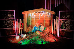 Christmas Manger Display. A nighttime view of Christmas light manger scene Royalty Free Stock Images