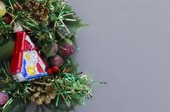 Christmas manger over grey background Royalty Free Stock Photo