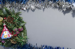 Christmas manger over grey background Royalty Free Stock Photography