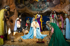 Christmas manger scene. With baby Jesus, Mary, Joseph Stock Photography