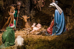 Christmas Manger scene with figurines including Jesus, Mary, Jos Stock Photography