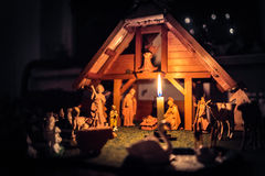 Christmas Manger scene and figurines Stock Photography