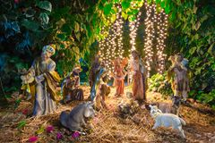 Christmas Manger scene with figurines. stock images