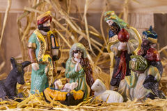 Christmas Manger scene with figurines Stock Photo
